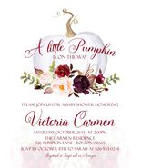 Little Pumpkin Baby Shower Invitation, Marsala and Blush Pink Pumpkin In... - $0.99