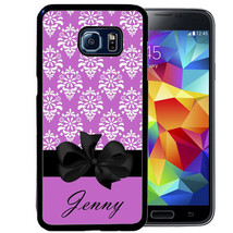Personalized Case For Samsung S9 S8 S7 S7 S6 Plus Rubber Purple Damask Bow - $13.98