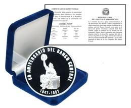 Dominican Republic 50 Pesos, 28.35g Silver Proof Coin, 1947-1997, KM#104... - $79.99