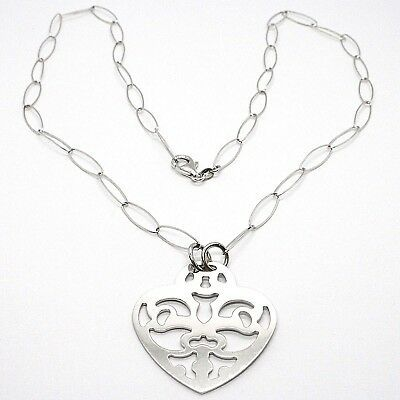 Necklace Silver 925, Chain Oval, Heart Flat Perforated, Pendant