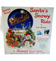 "Santa's Snowy Ride Shaped Jigsaw Puzzle 1000 Pc 26""x34"" Sealed - $29.69"