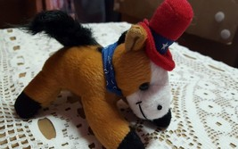 Four and a half inch stuffed horse Red Hat blue scarf - $12.45