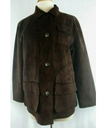 Lauren Dry Goods Supply Company Womans P/M Dark Brown Button Front Suede... - $41.85