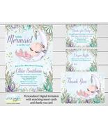 Mermaid Baby Shower invitation with thank you, Diaper Raffle, Books for... - $19.95