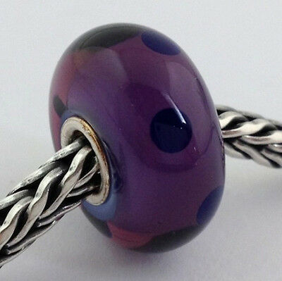 Primary image for Authentic Trollbeads Murano Glass Purple Dot Bead Charm, 61331, New