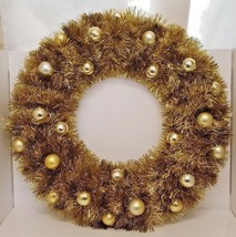 "Christmas Door Gold Wreath 18"" Circle Ball Ornaments Hanging Holiday Fes... - $39.59"