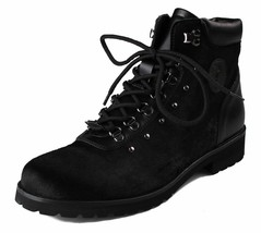 Versace Collection Black Pony Hair Lace Up Mountain Boots V900393 NIB