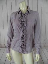 Tommy Hilfiger Blouse Top S Purple Cotton Pinstripe Button Front Ruffle - $35.64