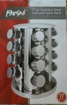 Parini Brand ~ Seventeen (17) Piece Stainless Steel Spice Rack ~ Glass Jars - £42.02 GBP