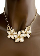 Gold Tone Enameled White Flowers Light Brown Rhinestones Necklace Earrings Set - $13.25