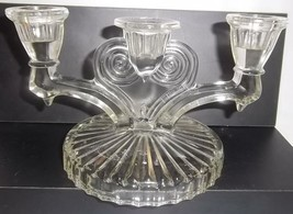 Vintage J EAN Nette Cosmos 3 Light Candle Candlestick Clear Glass - $19.79