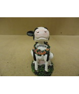 Topline Products Inc. Figurine Black/White/Green Bobbin Friend Cow Porce... - $6.55