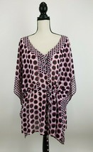 Lane Bryant Kimono Blouse Top Womens 22/24 Pink Animal Print Polka Dot B... - $24.13