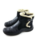 Clarks Bendables Black Leather Suede Ankle Boots Booties Side Zipper Wom... - $34.54