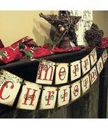 Merry Christmas Banner - Vintage Xmas Decorations Indoor for Home Office... - $16.05