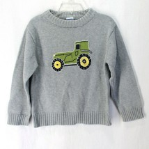 Gymboree Tractor Sweater Boys sz 4 Gray Green Crew Neck Long Sleeve Cotton - $12.99