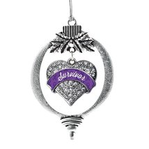 Inspired Silver Purple Survivor Pave Heart Holiday Decoration Christmas Tree Orn - $14.69