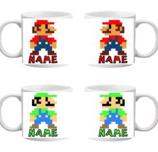 Personalised Mario Luigi Pixel Mug Any Name Coffee Cup Tea Gift Birthday... - $1.26+