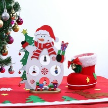 Christmas Craft New Year Gift Tree Wooden Party Snowman Desktop Diy Deco... - $14.99