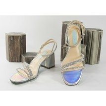 Betsey Johnson Anika Crystal Silver Iridescent Faux Leather High Heels 6... - $73.76