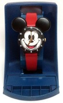 Lorus Disney Mickey Mouse Watch Ears Face Quartz Red Leather Band Box fo... - $39.99