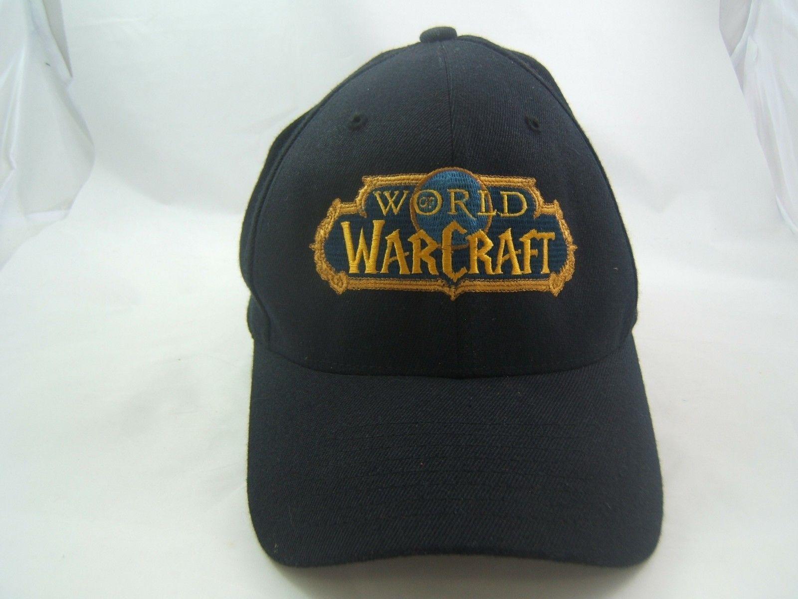 World of Warcraft Hat Black S-M Stretch Fit Baseball Cap