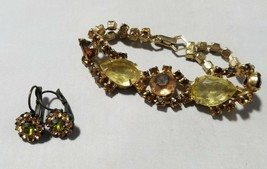 Vintage Fashion Jewelry Set Gold Tone Amber Green Yellow Stone Bracelet ... - $22.44