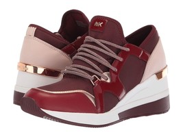 Michael Kors MK Women's Liv Trainer Canvas Sneakers Shoes Oxblood