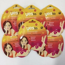 Lot of 6 Yes to Booty-ful Paper Mask Plump Smooth Coconut/Banana/Hibiscu... - $19.25
