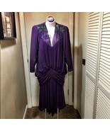 Vintage Purple Prom Dress Size 6 Peacock Mardi Gras Formal Dress - $47.52