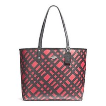 NEW COACH (F22247) REVERSIBLE CITY TOTE WILD PLAID COATED CANVAS BAG HAN... - $164.00