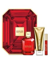 NIB - MICHAEL KORS 3 Piece Sexy Ruby Eau De Parfum 3.4oz Body Lotion Rol... - $89.09