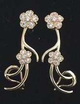 nOir Or Pl. Zircone Cristal Dorothea Goutte Fleur Pendantes Boucles D'Oreilles