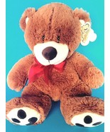 Plush Goffa Toy Company Brown Teddy Bear with Red Bow, Ear Hangtag Excel... - $16.82