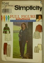Simplicity Full Figure Women's Pants Skirt Top Jacket Sewing Pattern 8346  - $19.80