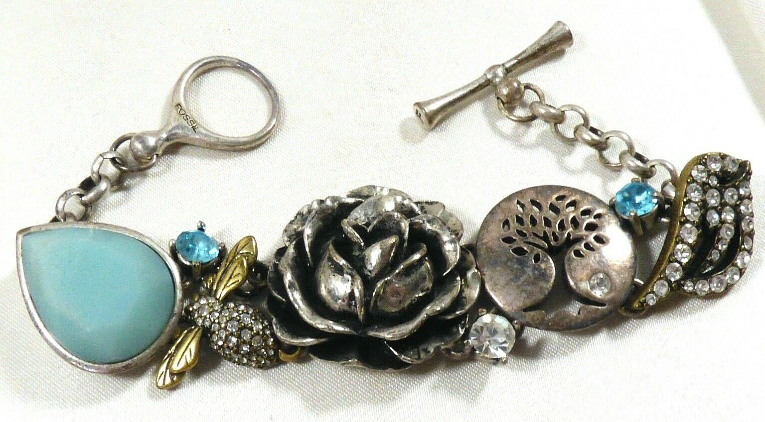 Primary image for Fossil Toggle Bracelet Tree of Life Bee Bird Rose Flower Aquamarine silver tone