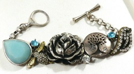 Fossil Toggle Bracelet Tree of Life Bee Bird Rose Flower Aquamarine silver tone - $51.48