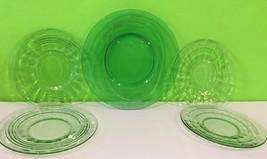 Mixed Lot Of 5 Vaseline Green Plates Uranium Glass Salad Plate Dinner Plate - $32.73