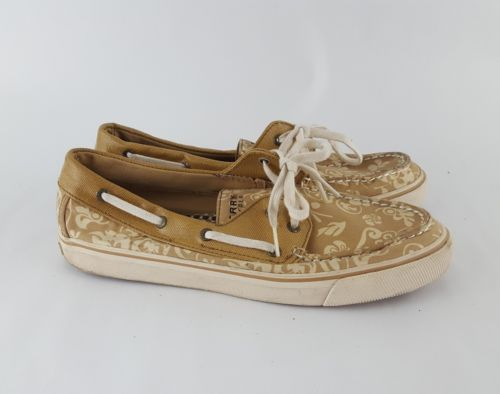 Sperry Top Sider 9 Boat Shoes Tan Canvas Floral