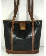 Brahmin Vintage Black Leather Brown Trim Bucket Shoulder Bag- Distressed - $109.60