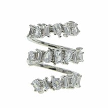 Gesamter Finger Ring für Damen Silber Weiß Cz Cubic Zirkonia Triple Wrap... - $13.99