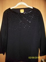 Ruby Rd - 1X Black  Sweater  - Sequent Embelished Yolk  - $5.99