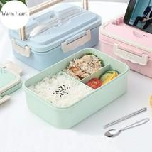 Green/Blue/Pink  Lunch  Box Wheat  Tableware  Portable Eco-friendly Plas... - $19.69