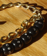 Gorgeous 80s Nautical Sailers Bracelet w Crystal Studded Beads and Anchor - $15.00