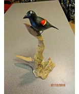 Hand carved hand painted Red Winged Blackbird songbird,artist signed Eck... - $33.25