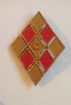 Vintage AJC Goldtone Brooch Pin Harlequin Patch Diamond Shape Orange Tan - $11.57