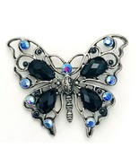 Vintage 80's Black Blue AB Rhinestone Silver Tone Butterfly Pin Brooch - €15,84 EUR