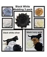 Black White Wedding Flowers for dog collars, Silver Gold Pet flower, Set... - $11.00