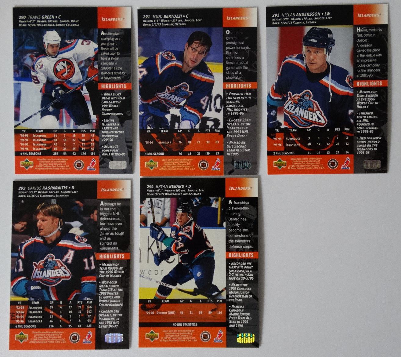 1996-97 Upper Deck UD Series 2 New York Islanders Team Set of 5 Hockey Cards