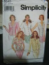 Simplicity Sewing Pattern 8845 Misses' Button Front Tops - $6.30
